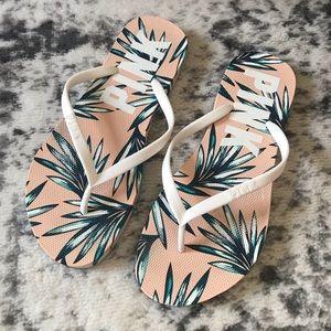 PINK Victoria's Secret Tropical Flip Flops